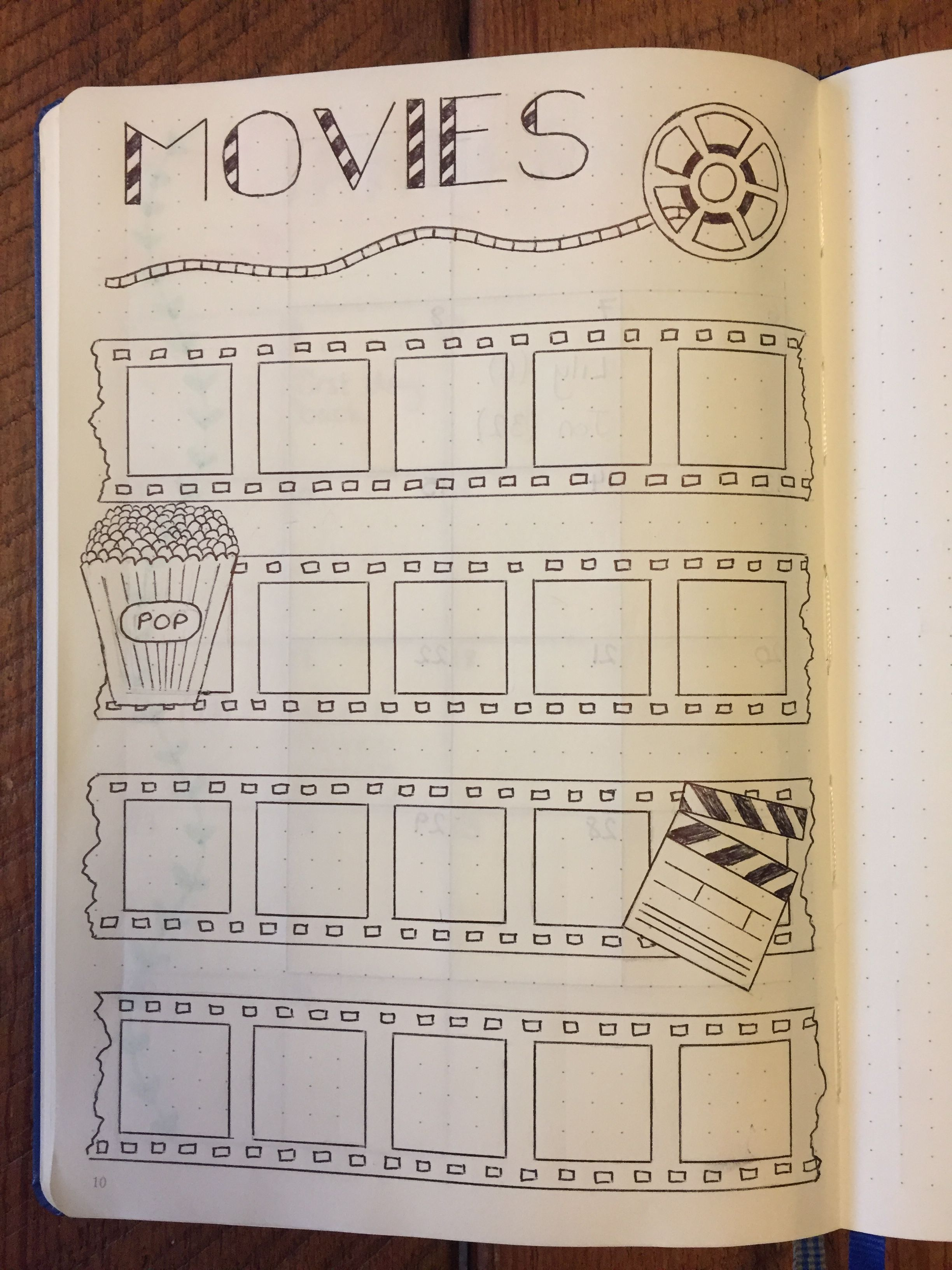 My movies page. Bullet journal. BuJo page.