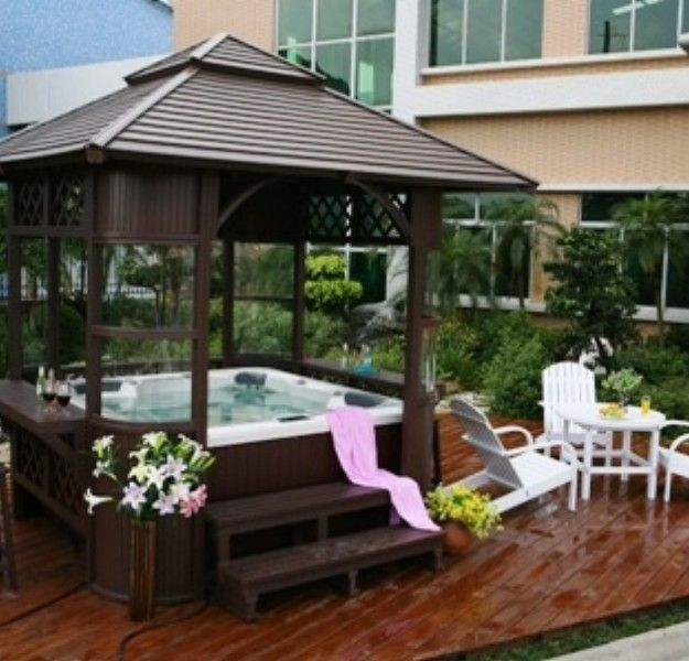 Gazebo ideas for hot tubs hot tub pergola hot tubs and tubs for Diy hot tub gazebo