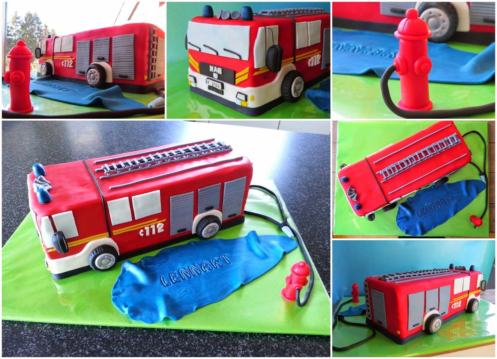 Kuchen Deko Feuerwehr Feuerwehrauto Sam Torte Mit