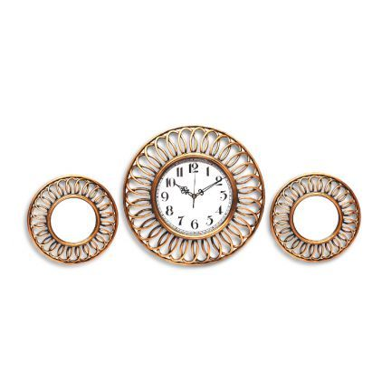 Hometown Reflection Ribbon Polyresin Mirror With Clock Brushed Gold Add Oodles Of Style To Your Home With An Clock Design Decorative Items Wall Clock Online