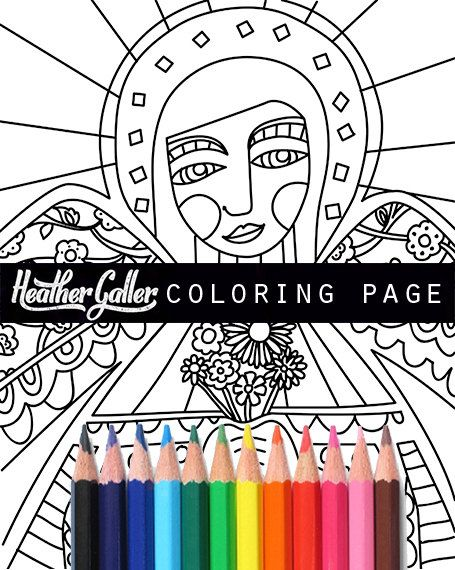 Angel Coloring Mexican Folk Art Book Adult Pages For Adults Printable
