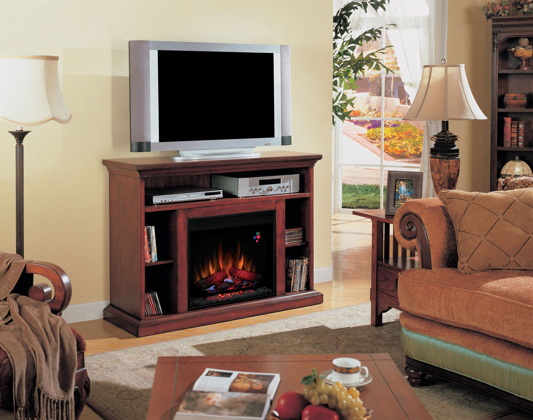 Montgomery 26in electric fireplace and tv stand cherry 26mm2490 c233 - Find This Pin And More On Classicflame Electric Fireplace Tv Stands
