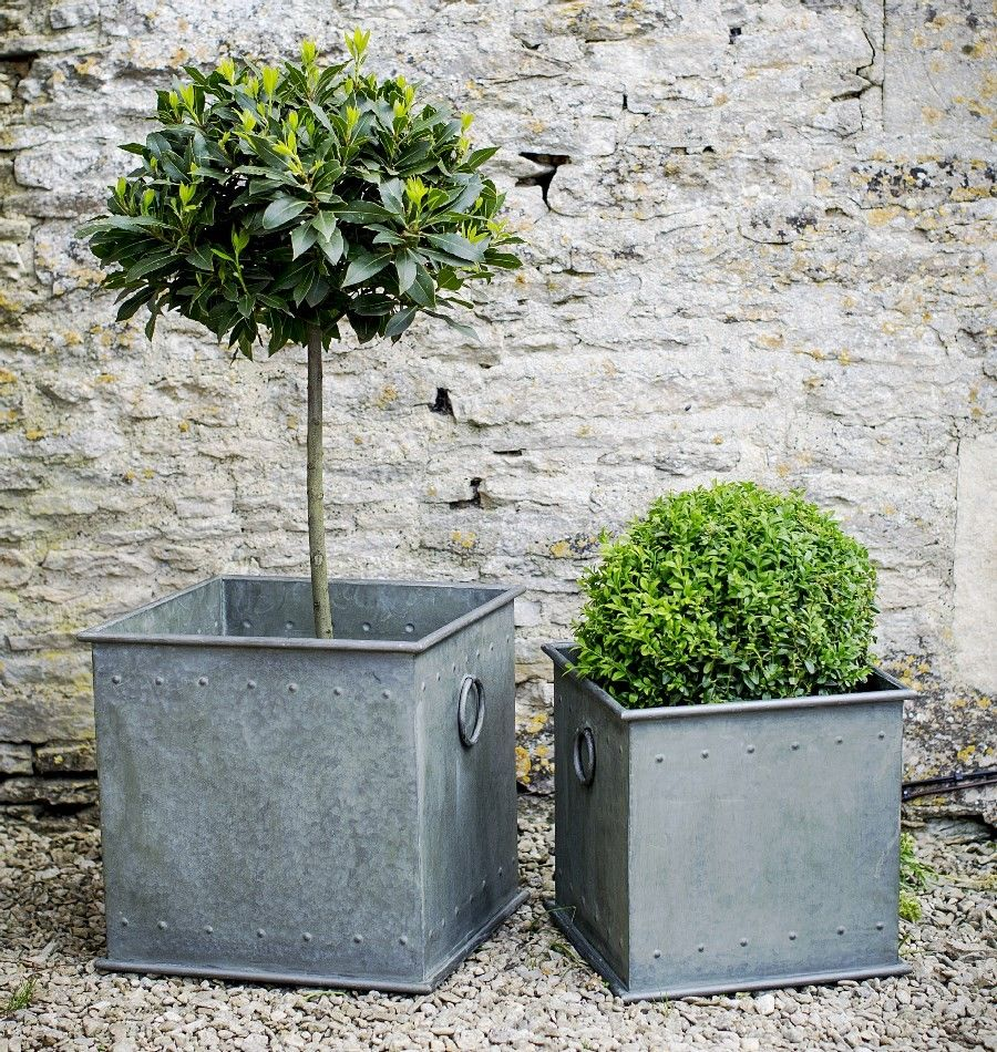 decorative metal garden planters with rivet detail in lightweight ...