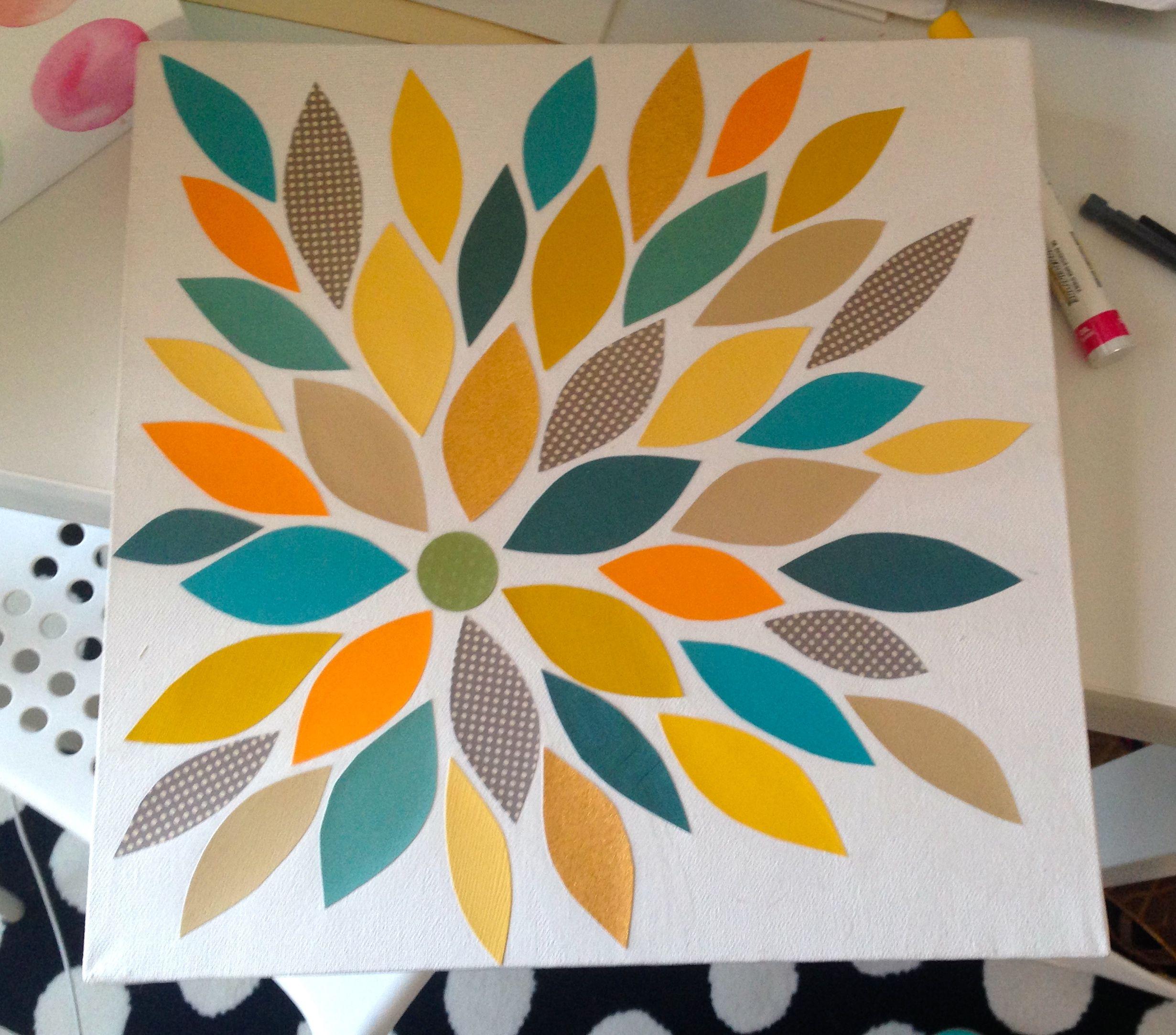 Diy canvas art scrapbook paper mod podge with images