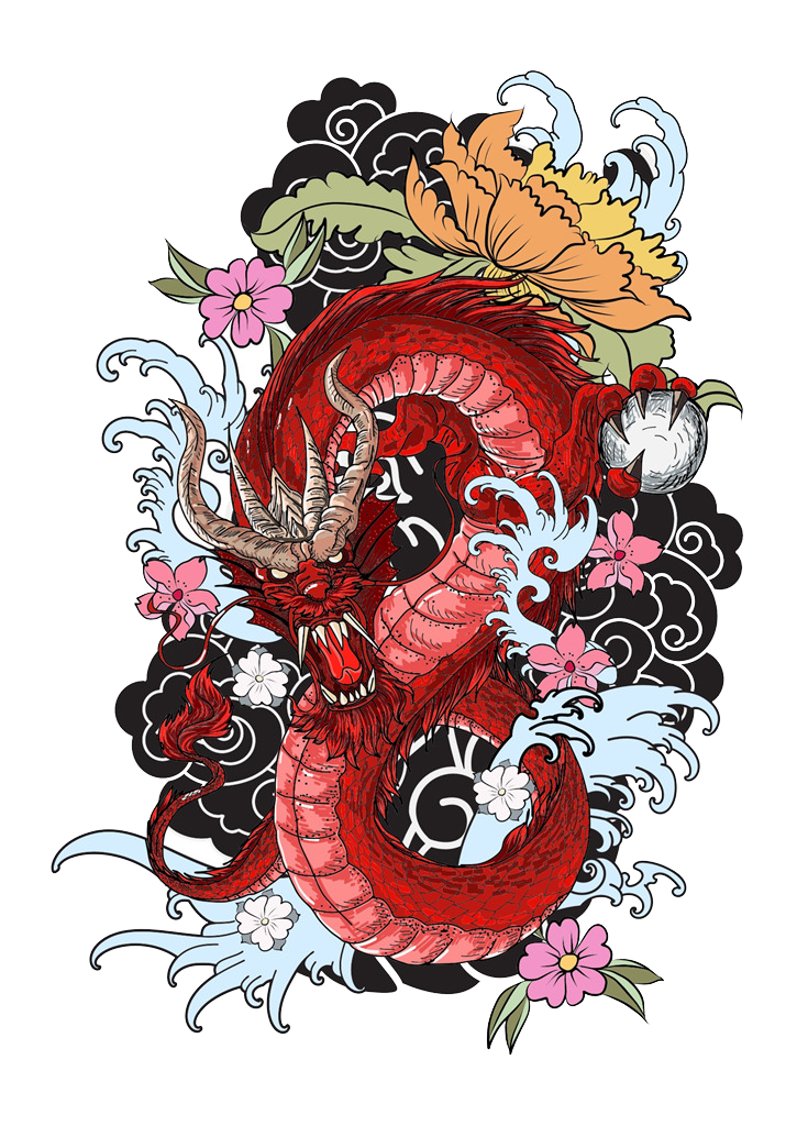 Book Cartoon 725 1024 Transprent Png Free Download Flower Temporary Tattoo Floral Design Tattoo Coloring Book Dragon Tattoo Colour Japanese Dragon Drawing