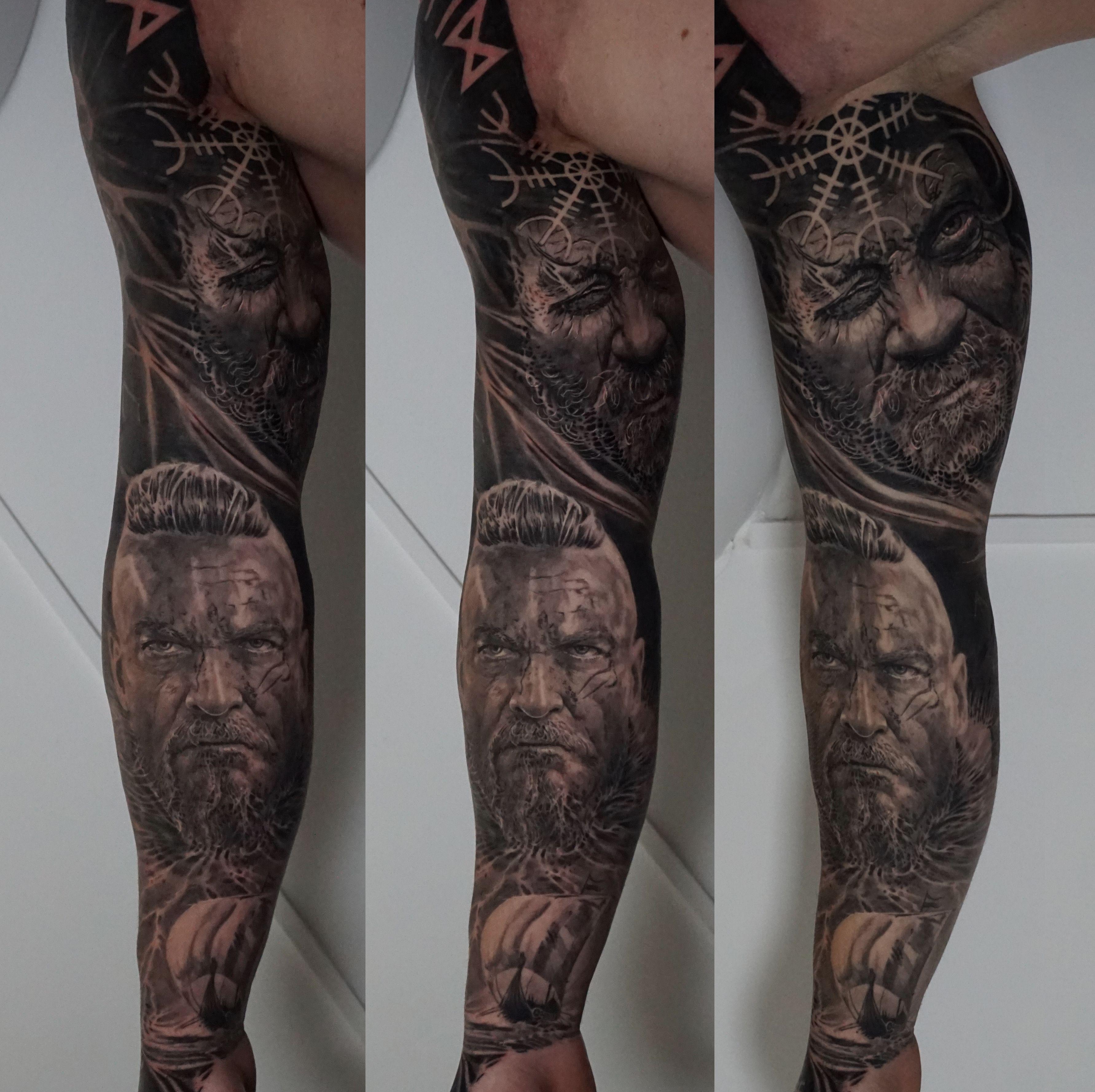Viking Full Sleeve Black And Grey Tattoos Best Sleeve Tattoos Tattoos