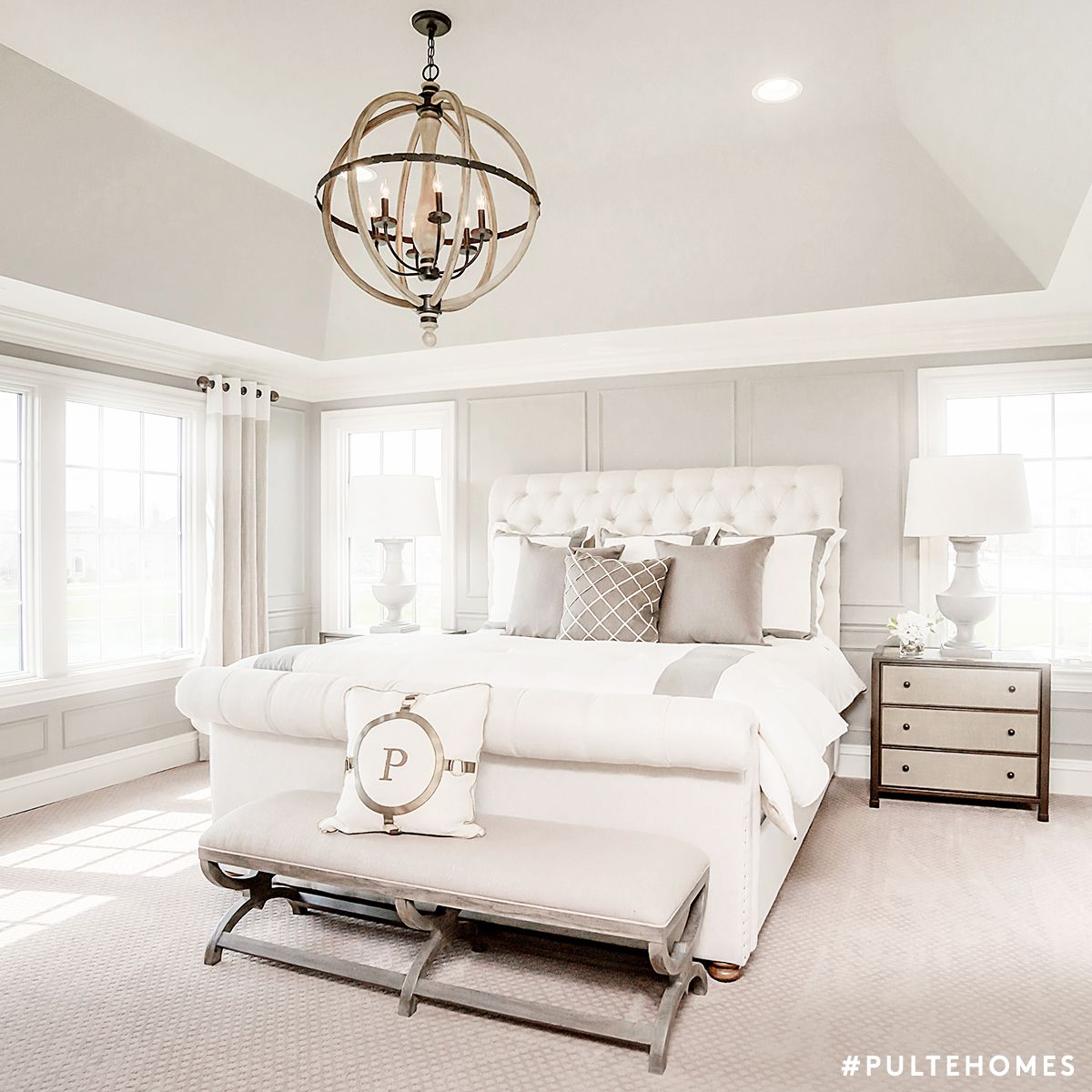 set a zen like scene with an all white bedroom that has touches of silver and gold pulte. Black Bedroom Furniture Sets. Home Design Ideas