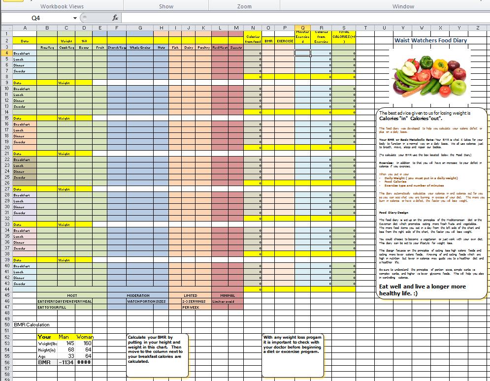 food calories spreadsheet