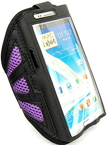 """myLife Tulip Purple + Cloudy Black with Flex Mesh {Rain Resistant Velcro Secure Running Armband} Dual-Fit Jogging Arm Strap Holder for Samsung Galaxy Note 2 """"All Ports Accessible"""" myLife Brand Products http://www.amazon.com/dp/B00TGDRNJS/ref=cm_sw_r_pi_dp_pJ1avb128MEE3"""