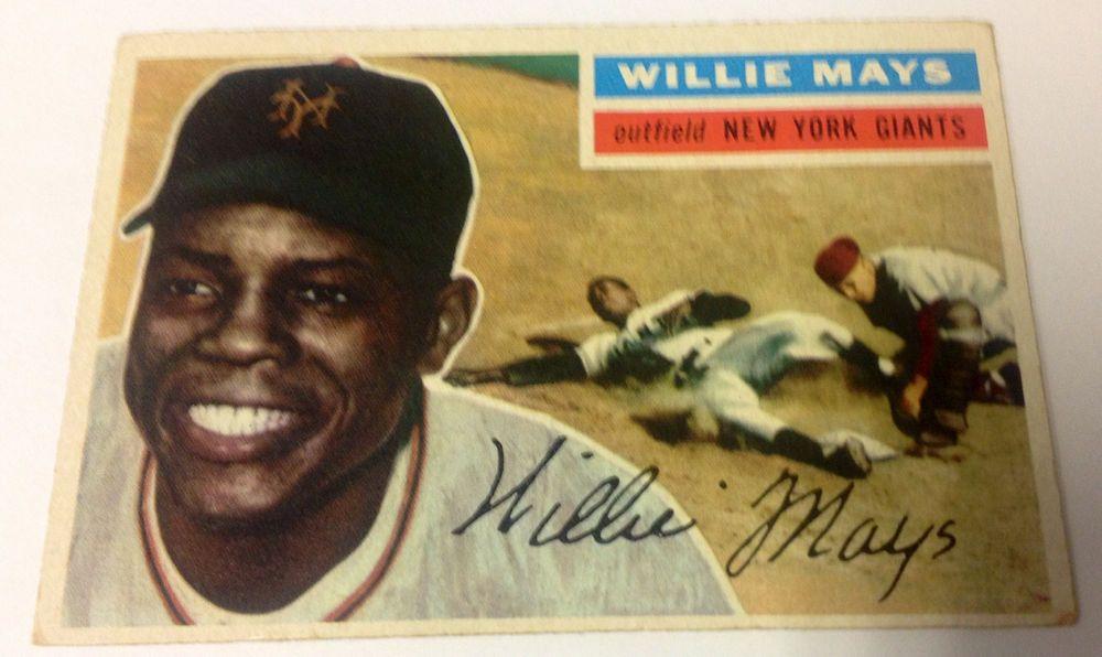 1956 Topps Willie Mays 130 Baseball Card Mlb New York Giants Hof Bv300 Baseball Cards New York Giants Willie Mays
