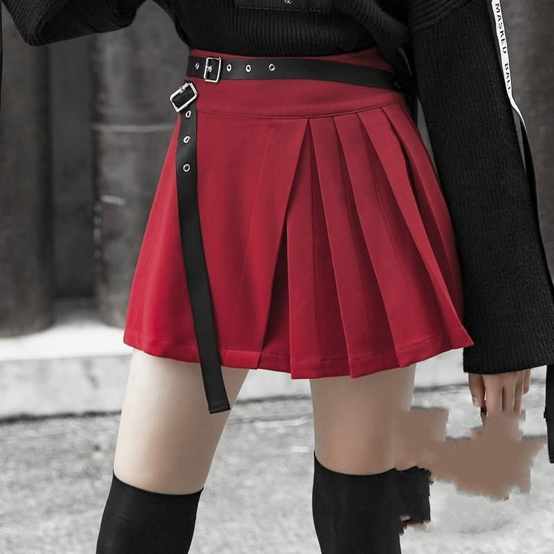 67d32440bc Step out feeling confident while wearing #punkrave Women's Red Mini Pleated  #Skirt With Girdle #miniskirt #shortskirt #redskirt