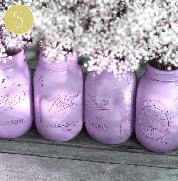 Superior Lavender Painted Mason Jars For Your Wedding Décor (you Paint The Inside Of  The Jar