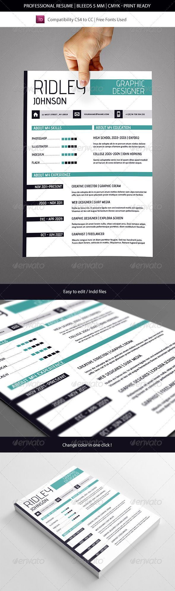 Creative Indesign Resume Template   Template, Creative and Graphic ...