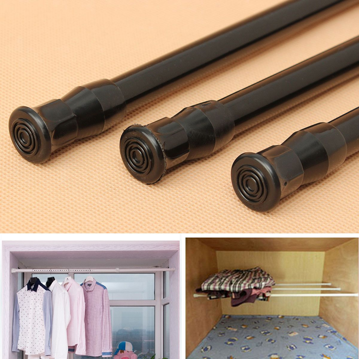 Extendable Adjustable Spring Tension Window Curtain Rod