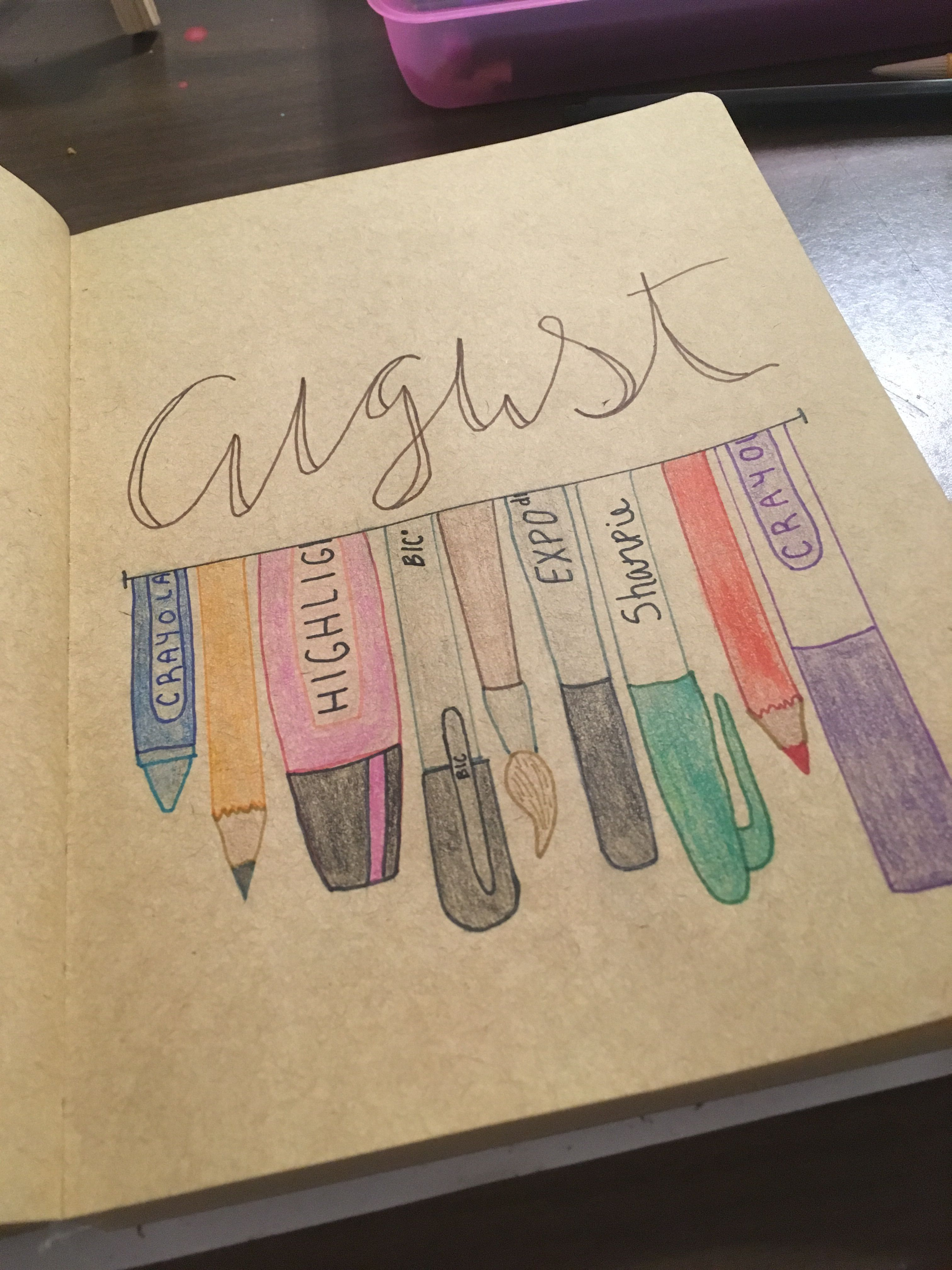 Bullet journal cover page: August- school supplies theme #augustbulletjournal