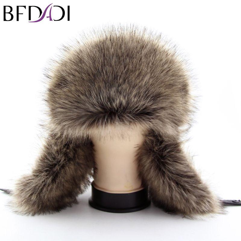 1751c51957e BFDADI Hot Sale faux fur Ear Flaps Cap trapper snow ski snowboard warm  winter aviator bomber