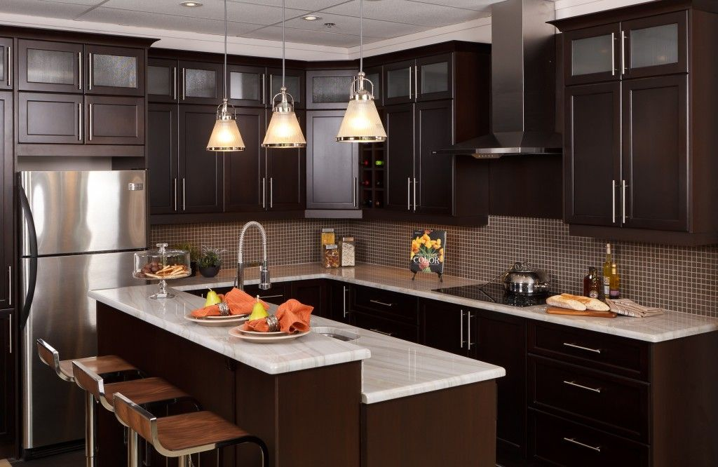 Chocolate Maple L-Shape Kitchen made with Pre-assembled cabinets ...