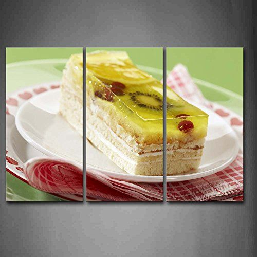 First Wall Art Yellow Cake With Fruit In Plate Wall Art Painting The ...
