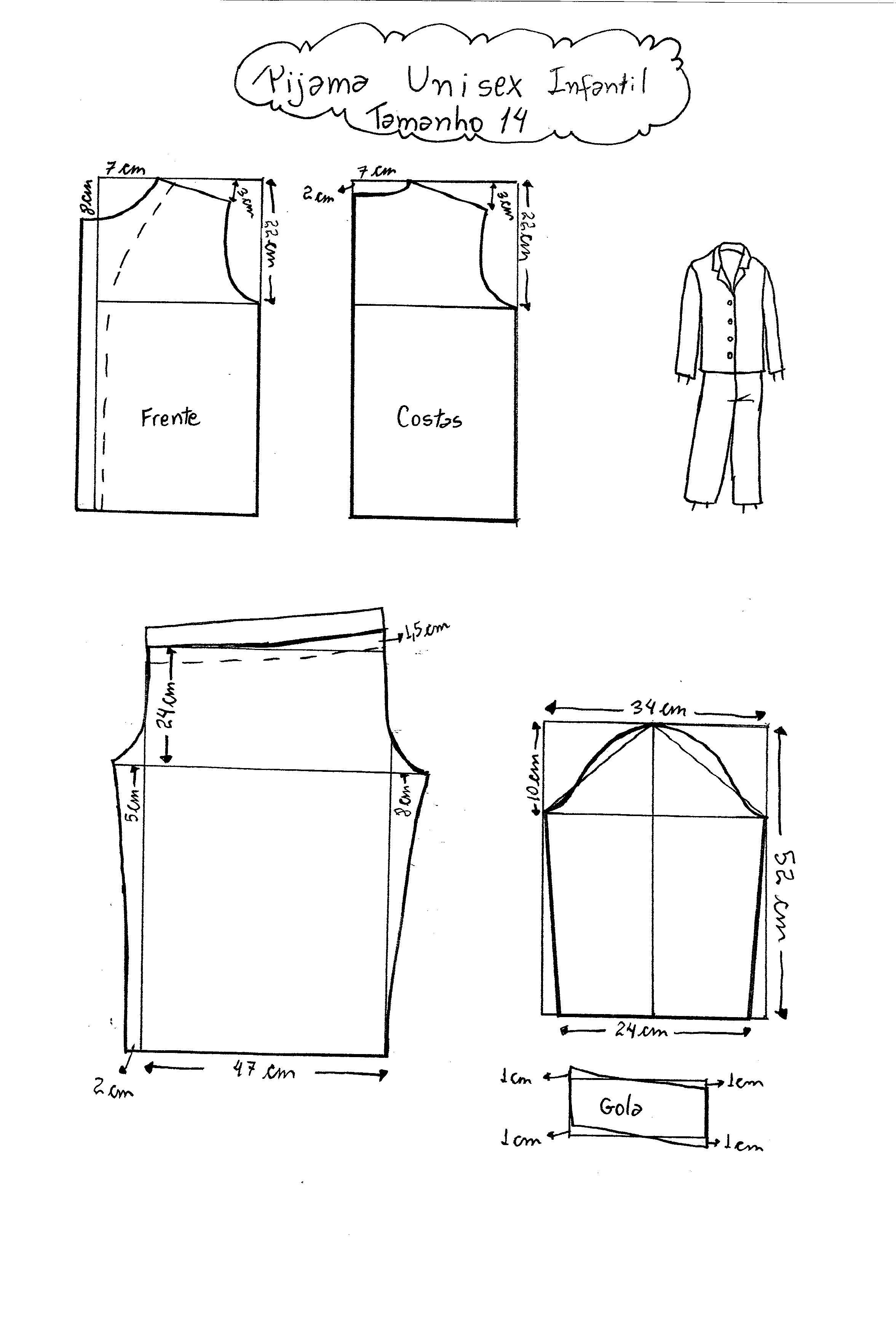 Molde de Pijama tamanho 14. | patrones | Pinterest | Pajamas, Sewing ...