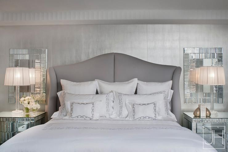 Gray And Silver Bedroom Features A Silver Metallic Foil Wallpaper Lined  With A Gray Wingback Bed