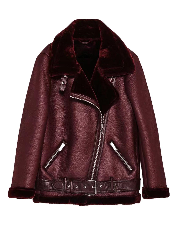 73b06abdb Burgundy Lapel Faux Shearling Biker Jacket | Sundance / Winter Style ...