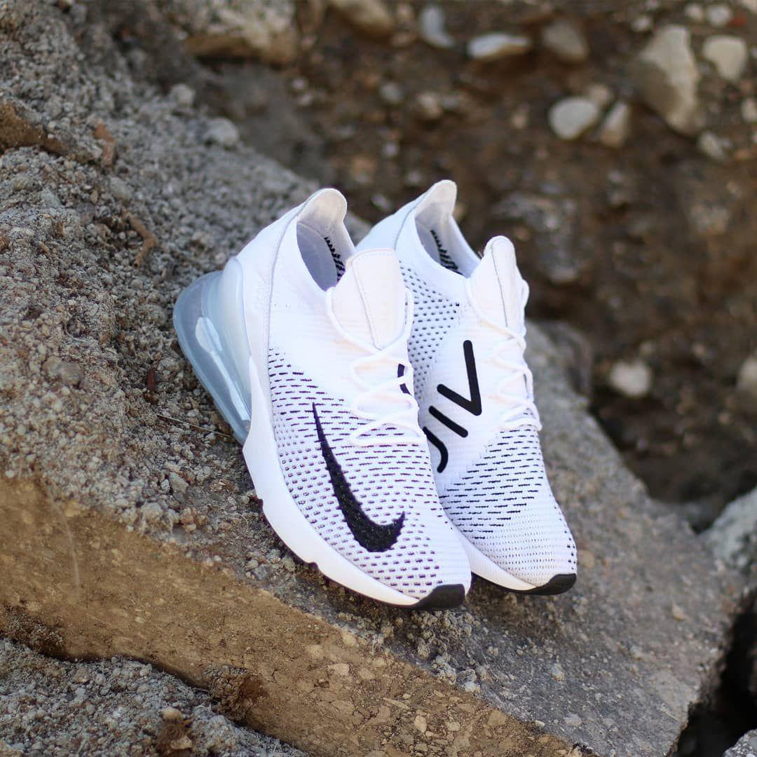 Nike Air Max 270 Flyknit White Platinum Black Nike Shoes Sportstylist Nike Schuhe Herren Nike Air Max Addidas Schuhe Herren