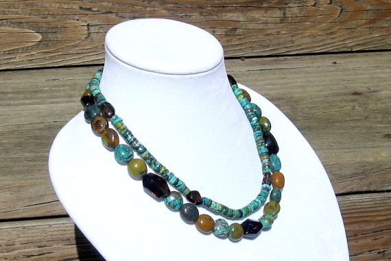 Turquoise and Smoky Quartz Necklace  Turquoise Two by irideae, $119.00
