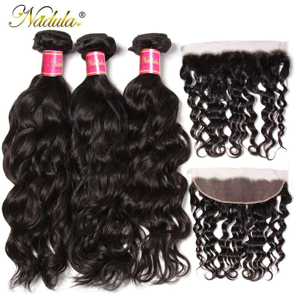 Nadula Hair Natural Wave Bundles With Frontal Brazilian