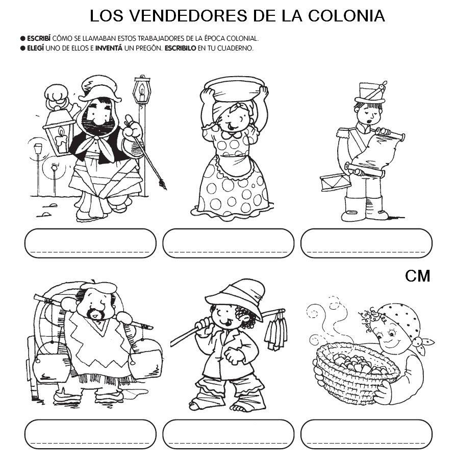 Colorear Imagenes Epoca Colonial Buscar Con Google Pregones Para Ninos Epoca Colonial Actividades De Historia