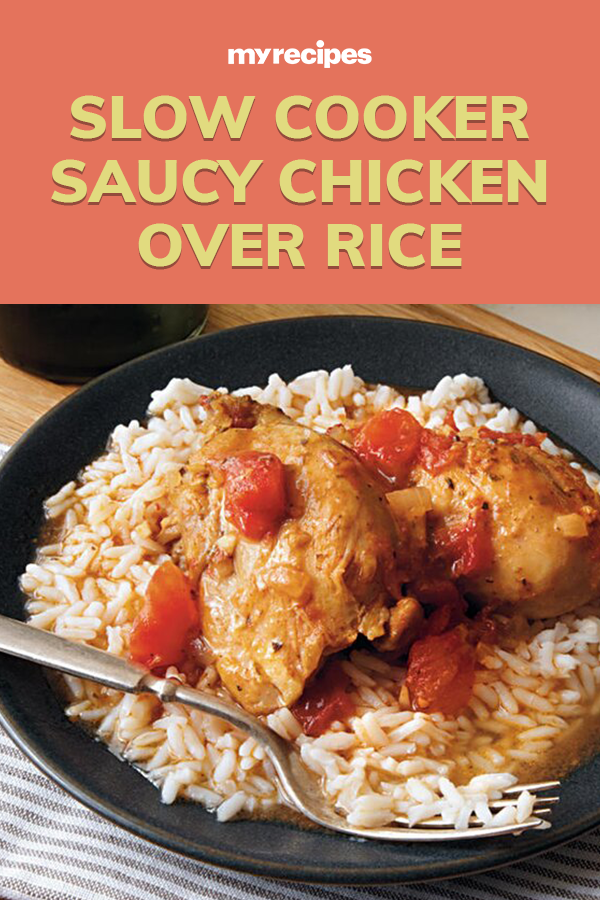 Saucy Chicken Over Rice Recipe Slow Cooker Chicken Dishes Recipes Cooking Recipes