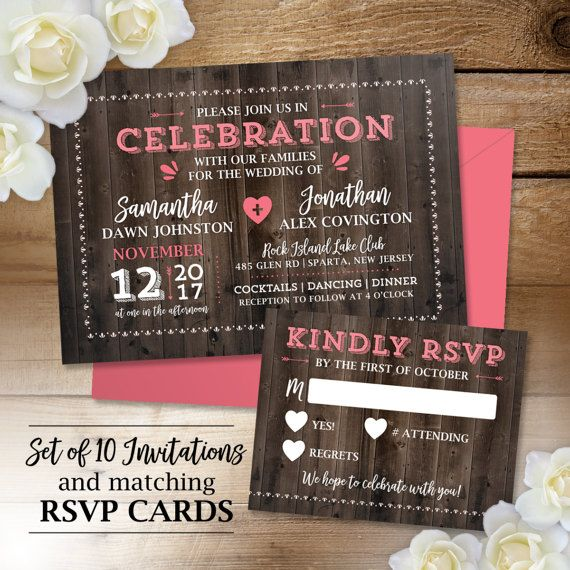 10 Rustic Barn Wedding Invitations with RSVP, Country Wedding, Wood ...