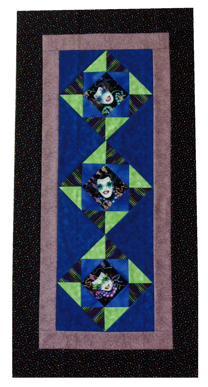 Mardi Gras Mask Runner Quilt Top 21x44