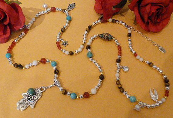 Multi colour beaded gemstone necklace with Hamsa Hand  by Boholane, £34.00