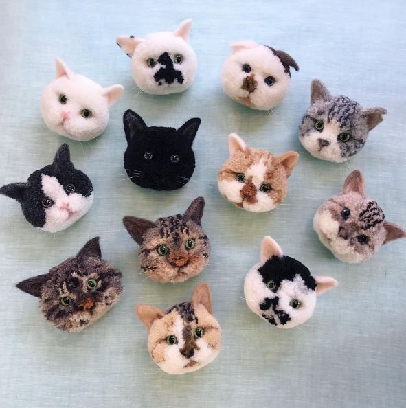 Look at these amazing animal pom poms top crochet for Pom pom craft patterns