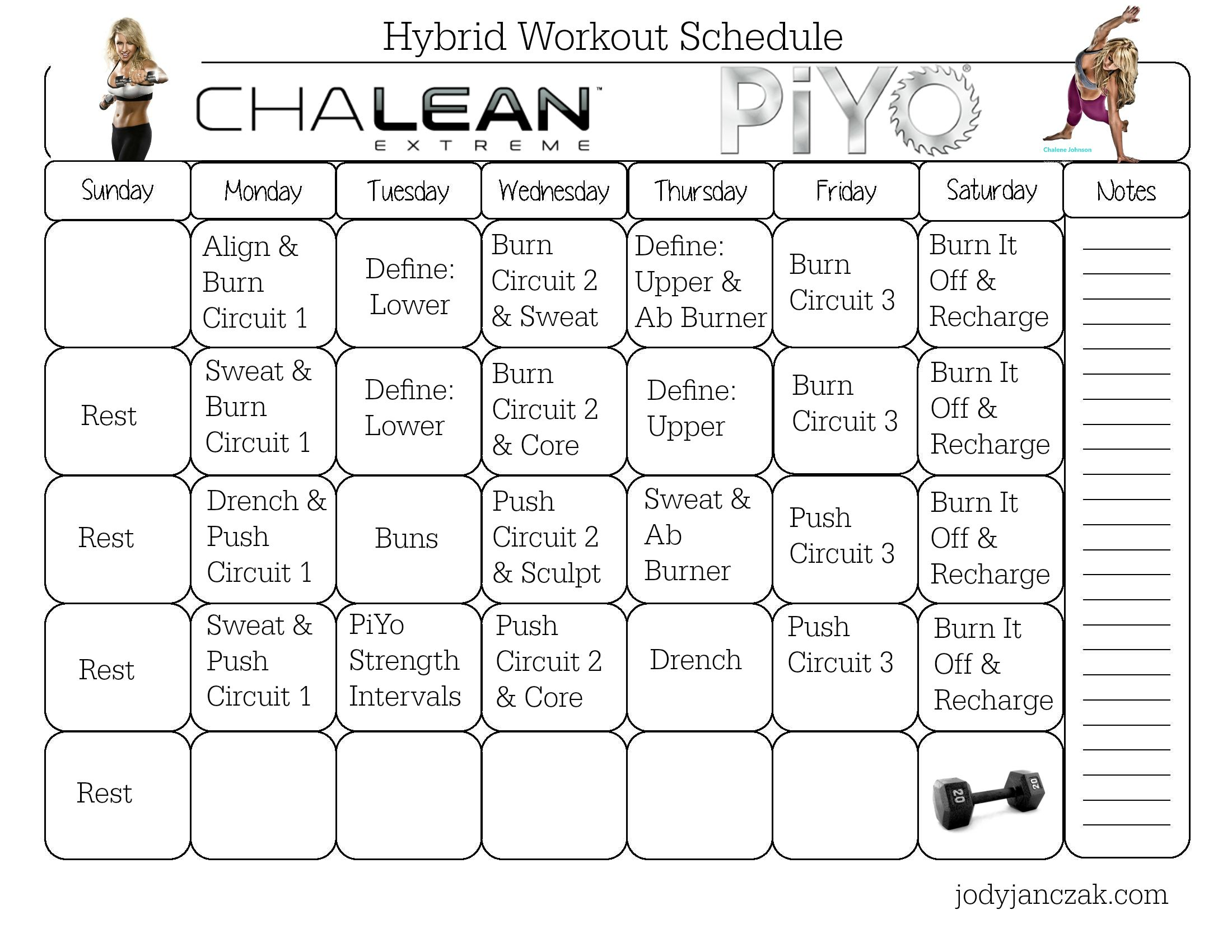 Chalean Extreme And Piyo Hybrid Workout 8 Week Program