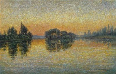 Sunset, Herblay, Opus 206 by Paul Signac