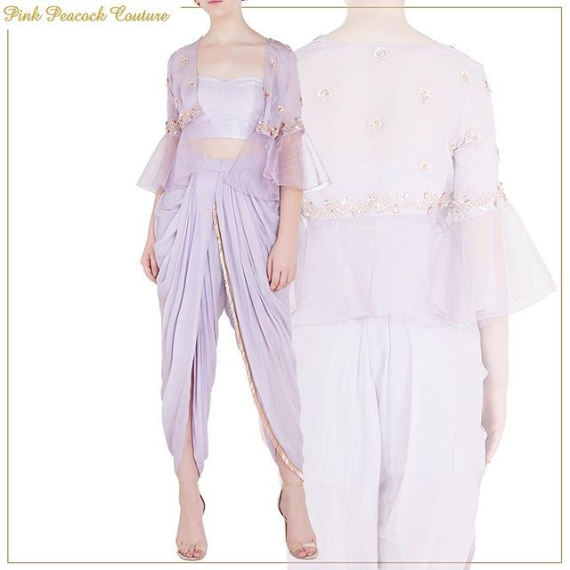 23e22d2161 Beautiful piece with delicate detailing! Featuring lilac tube top and dhoti  pants with embroidered jacket