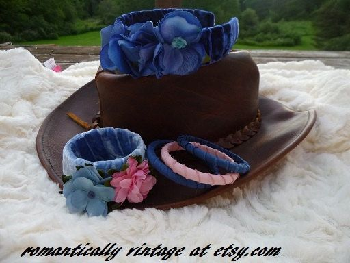 Blue Jewelry Set Floral Wrapped Bracelets by RomanticallyVintage