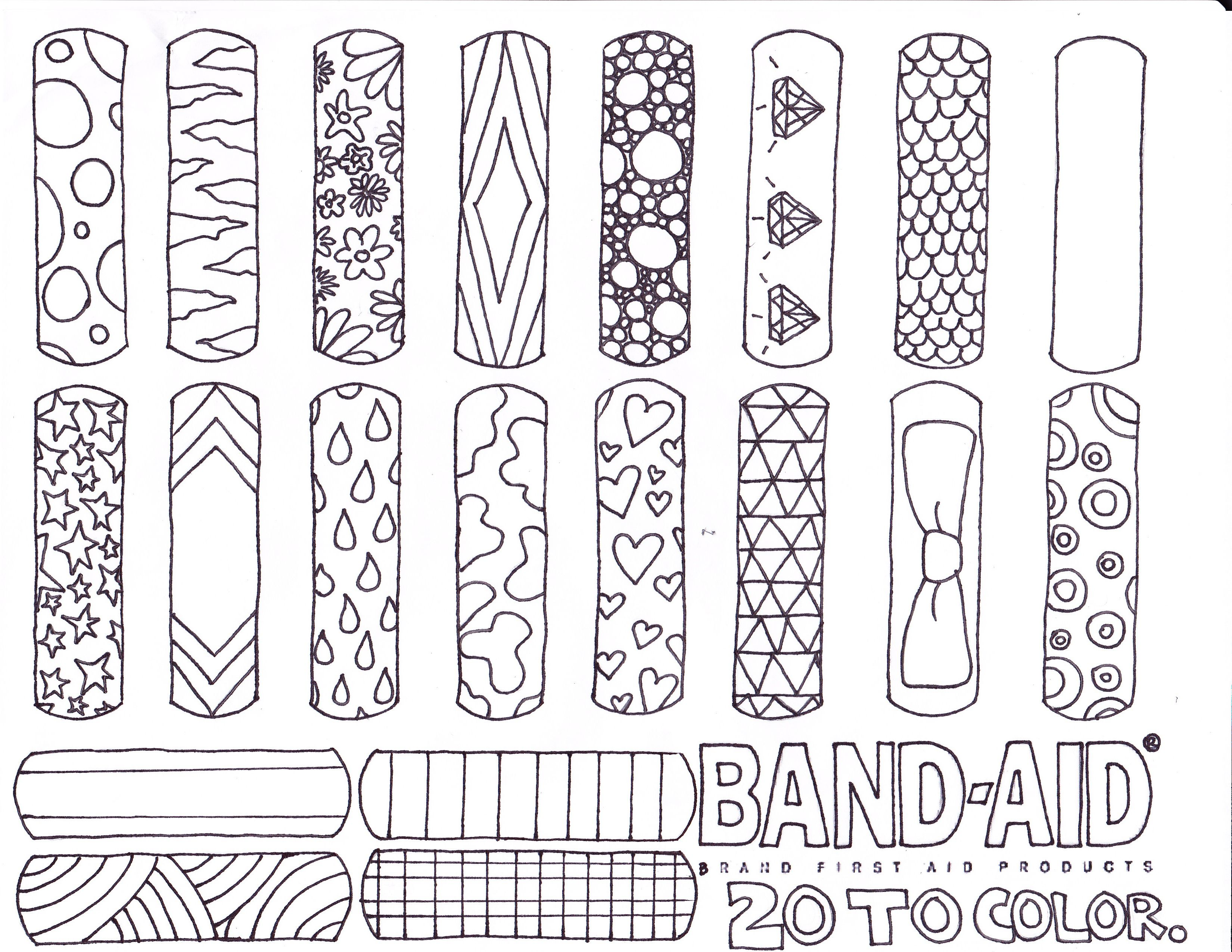 Challenging Coloring Pages | coloring page band aid invented ...