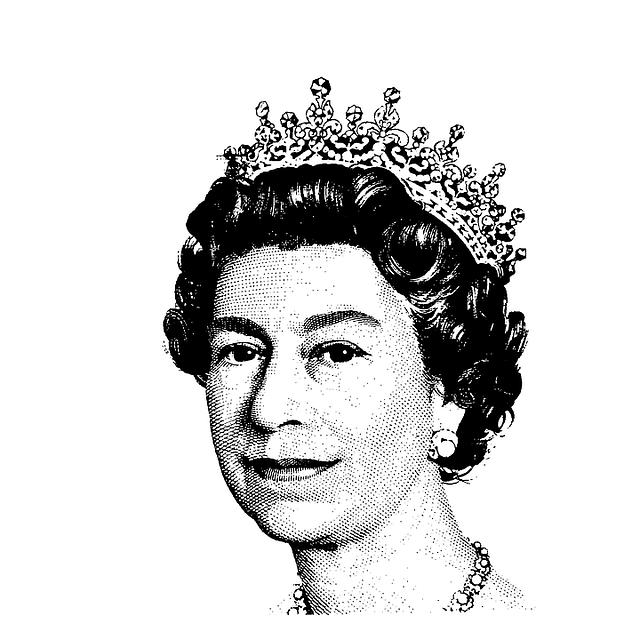 Black And White Sketch Of Queen Elizabeth Ii Teens Poster