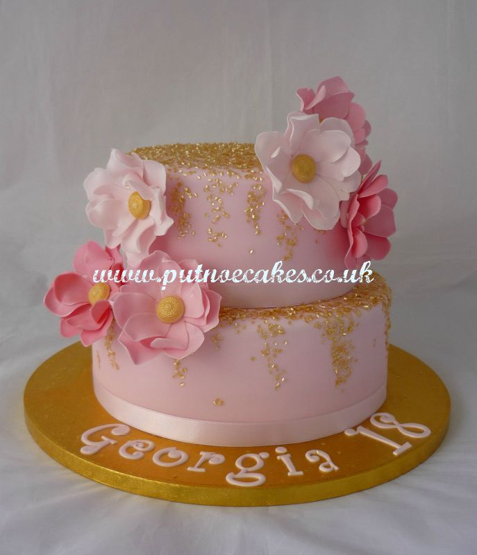 Pale Pink Two Tier 18th Birthday Cake Decorated With Thousands Of