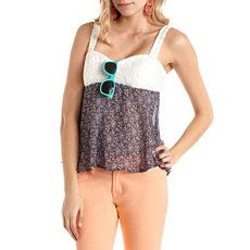 Lace & Floral Chiffon Babydoll Top Really cute with leggings