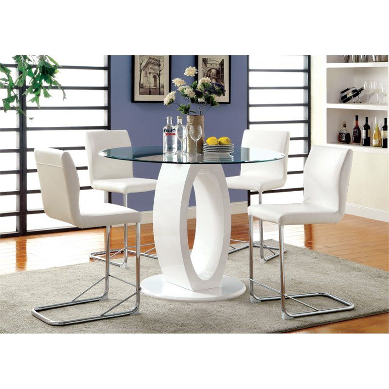 Furniture Of America Hugo Counter Height Round Dining Table In White