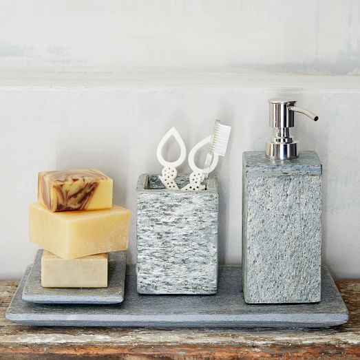 Etonnant CHECK! $57 Soap Dish, Soap Dispenser, Tray U0026 Tumbler. Slate Bath Accessories