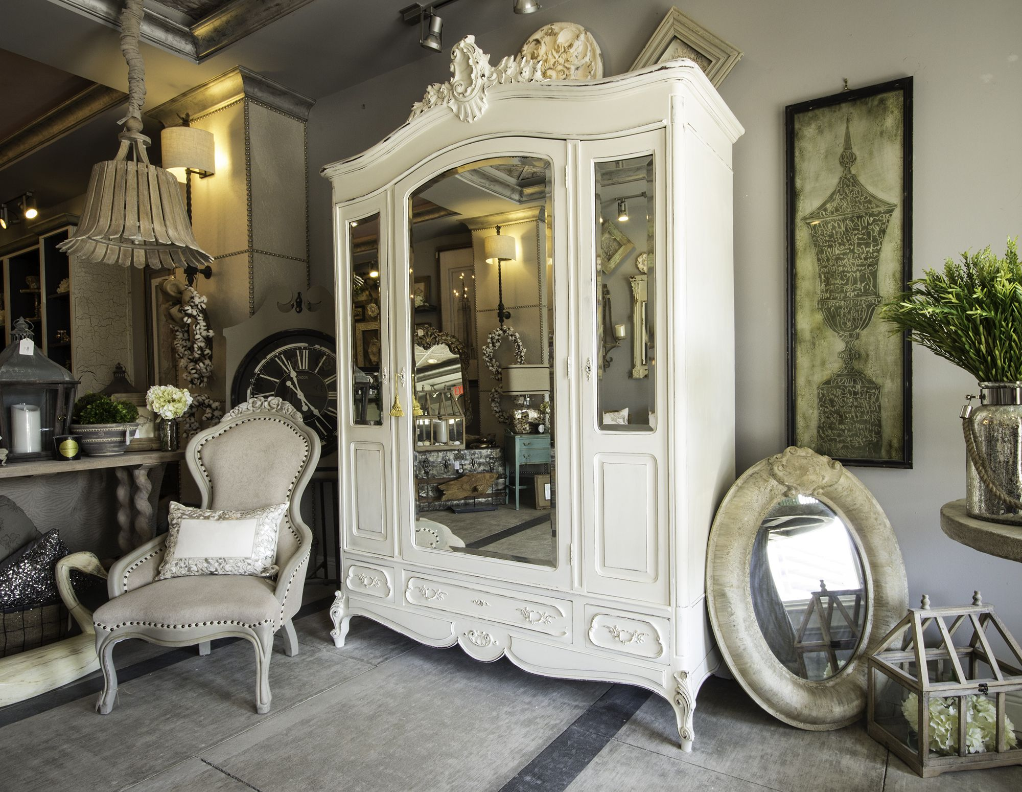 White Louis XV Style Antique French Triple Armoire