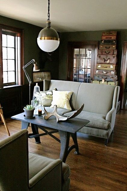 VIntage Living Room - Old suitcases, Timber floors Clever use of