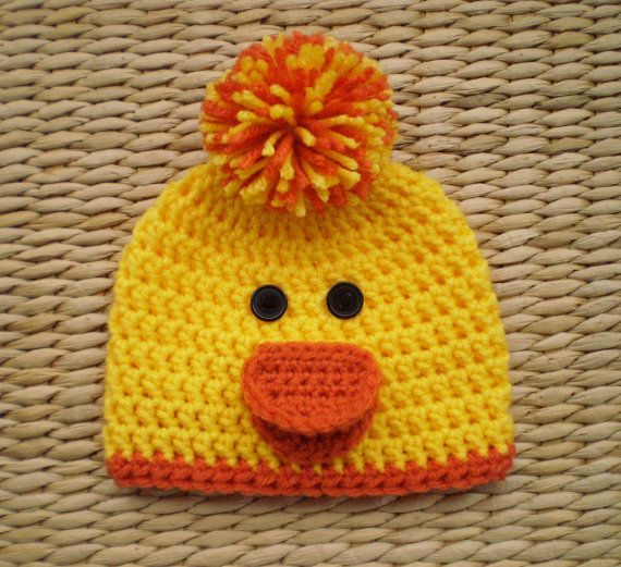 Easter Rubber Duck Hat with Ear Flaps and Tassles Hand Knit Yellow Duck Hat for Kids Animal Hats and Accessories