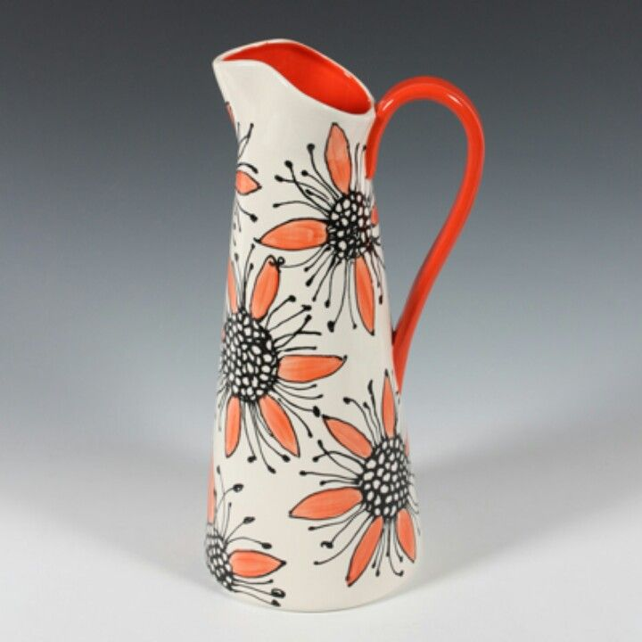 Pitcher ~ I love the interior and handle in the bright, matching color but would do something else on the exterior