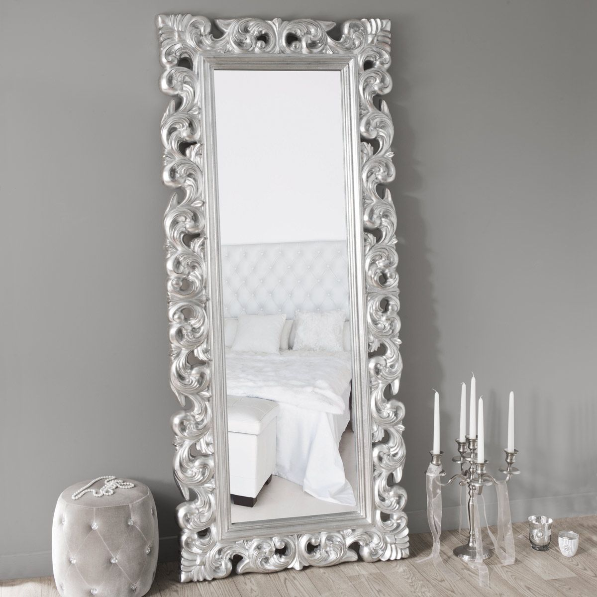 Grand Miroir Baroque Argente