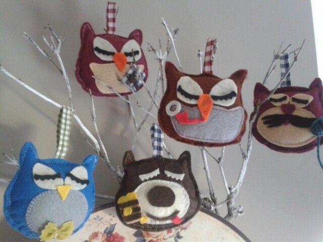 Owl family and their friends / peledos ir ju draugai :)
